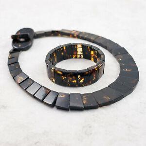Amber Charm Amber Set Collar Necklace Bracelet Natural Black Polished Stones