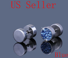 "Stainless Steel Light Blue Crystal Men s Earrings Ear Studs 0.31"" HOT 3"