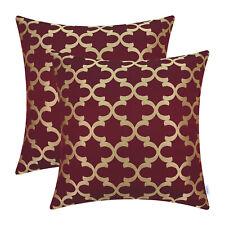 2pcs CaliTime Burgundy Cushion Covers Pillows Shell Geometric Home Decor 45x45cm