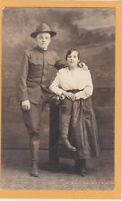 Studio Real Photo Postcard RPPC - Soldier and Woman Skok Photo West Allis WI