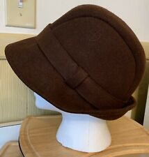 Lands' End Womens Brown Cloche Bucket Hat 100% Wool Size L/XL