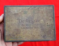 "VINTAGE DE RESZKE ""THE ARISTOCRAT OF CIGARETTE"" AD LITHO TIN BOX,ENGLAND"