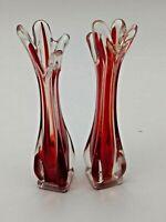 Vintage Pair of Ruby Red & Clear Venetian Art Glass Bud Stem Vases Hand Blown