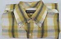 Stetson Mens Cowboy Western Brown/Tan Plaid Button Down Long Sleeve Shirt Large