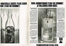 PUBLICITE ADVERTISING 064  1980  SEB   purificateur d'eau  ( 2 pages)