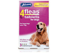 JOHNSONS 4 FLEAS TABLETS FOR LARGE  DOGS  3 TREATMENT PACK KILL FLEA IN 24 HOURS