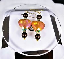 Beads Dangle Earrings French Hook Citine Heart Center Quartz Gold Spacers