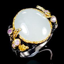 Vintage SET Natural Aquamarine 925 Sterling Silver Ring Size 9/R117291