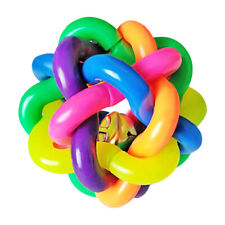 1PC Woven Ball Braided Pets Dogs Chewing Toy Rubber Rainbow Ball with Small Bell
