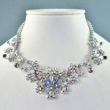 Vintage Necklace 1950s Multi Coloured Crystal Silvertone Bridal Jewellery