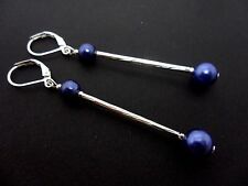 A PAIR OF SILVER COLOUR  BLUE BEAD LONG DANGLY  LEVERBACK HOOK EARRINGS. NEW.