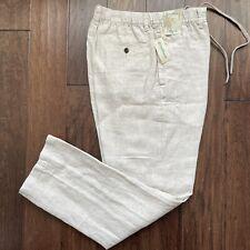 CARIBBEAN Natural Khaki 100% LINEN Drawstring Pants Men's 42x32 NEW NWT Nice!