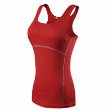 UK Womens 7 Color Gym Sports Wicking Cool Dry Running Racer Back Breathable Vest Red 2xl