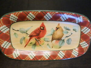 Lenox Red Tartan Serving Platter Christmas Cardinal Winter Greetings  McClung