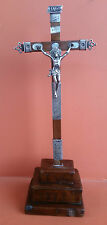 """Antique colonial Holy Cross Crucifix Wood Carved & Sterling Silver 13.75"""" 1893s"""