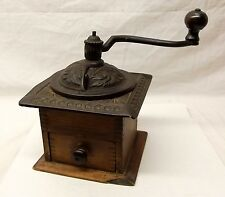 Antique Iron Coffee Mill Grinder Wood Drawer Cast Iron Hand Crank Dovetail Joint