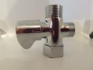 LUXE BIDET 3-WAY T-ADAPTER SHUT OFF METAL CHROME PLUMBING PART BATHROOM COMMODE