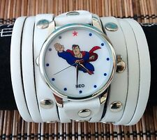 Super man Leather wrist Watch wide band Women cool Naughty Artistic
