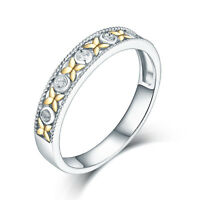 Solid 14K White Gold Diamond Engagement Wedding promise Band Ring