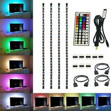 4x 50CM USB RGB LED Strip Light 5V Multi-color TV Back IR Remote Control Adapter