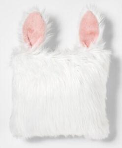 NWT Rabbit Faux Fur Throw Pillow White Pillowfort Kids Spring Easter Decor