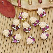 10Pcs 3D Rose Flower Crystal Rhinestone Nail Art Sticker Tips DIY Decor Striking