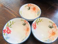 Pottery Barn Floral Bunny Easter Snack Bowls Set 3 Decor Tabletop Serving New
