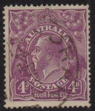 Australia - KGV SC wmk 4d violet, variety 'Splintered Corner' pos 1L58 - Used