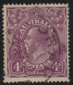 Australia - KGV SC wmk 4d violet with ACSC listed variety - Used
