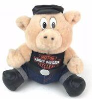 "Vtg 90s Harley Davidson 7"" Hawg Hog 1993 Play by Play Plush Pig Biker Toy"