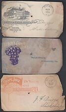 US 1900's COLLECTION OF 5 DIFFERENT WINE & ADVERTISING COVER FRONTS ONLY PACIFIC