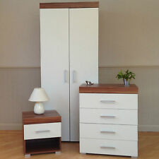 3 Piece White & Walnut Bedroom Set! Wardrobe, 4 Drawer Chest, Bedside Table! NEW