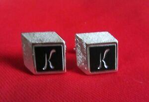 "Vintage Engraved ""K"" Monogram Block Ilusion Black & Silver Tone Intaglio Swank"