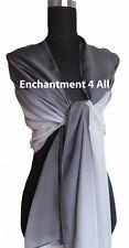New Shaded 100% Pure Silk Oblong Scarf Shawl Wrap, Black/Gary