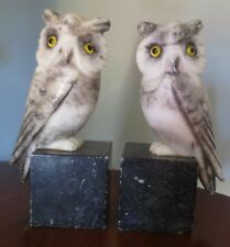 "* VINTAGE MARBLE ALABASTER STONE OWL CARVED BOOKENDS PAIR * ITALY * 8"" TALL *"