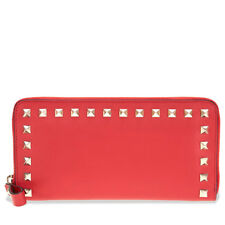 Valentino Rockstud Zip Around Continetnal Wallet - Red