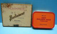VTG. RARE PARLIAMENT METAL CIGARETTE TIN & WILLS CUT GOLDEN BAR PIPE TOBACCO TIN