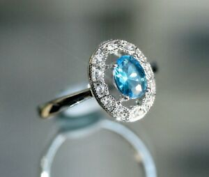 Vintage Design Created Oval Topaz & Diamond Ring, Size Q / 8.5