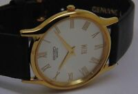 MEN SEIKO SUPER SLIM QUARTZ GOLD PLATED SILVER DIAL WRIST WATCH RUN ORDER