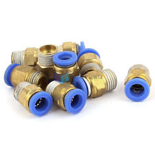 10 Pcs NPT Male Thread Dia Tube Straight Push in Connect Fitting  1/4