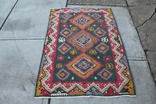 """Antique Wool Tribal Rug Tribal Shapes Patterns Colorful 46"""" X 68"""" Rectangular"""