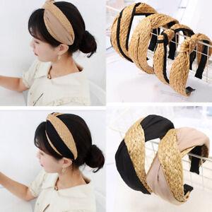 Women Bohemian Straw Weaving Top Knotted Headband Cross Handmade Wide Hair Hoop
