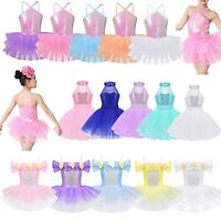 Girls Kids Tutu Ballet Dance Leotard Dress Sequined Ballerina Dancewear Costume