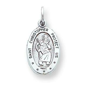 10K White Gold Saint Christopher Medal Charm Jewelry 24 X 11mm New