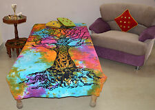 Indian Tree Of Life Single Bedspread Indian Bed sheet Cotton Throw Table Cloth