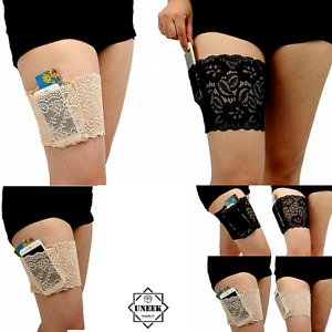 NON SLIP ELASTIC LACE  LADIES Anti Rubbing Thigh Band with Secret Pocket Holder