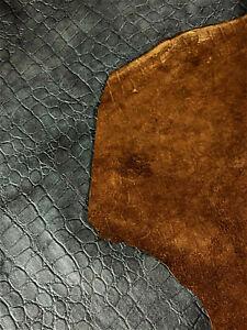 Black Alligator Soft Leather Lamb Hide Accessory Craft Apparel Purse Avg 7 SqFt