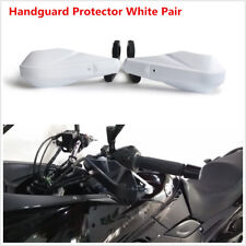 2x White Handle Brush Bar Hand Guards Handguard Protector Protection 22mm 7/8''