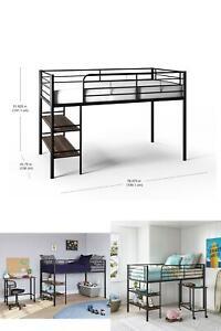 Beckett Kids Metal Twin Loft Bed W/ Open Book Shelving Under Bed Desk Storage