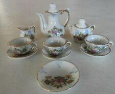 Vtg 12 Piece Miniature Tea Coffee Cups & Saucer Set Japan Floral Child 1950's